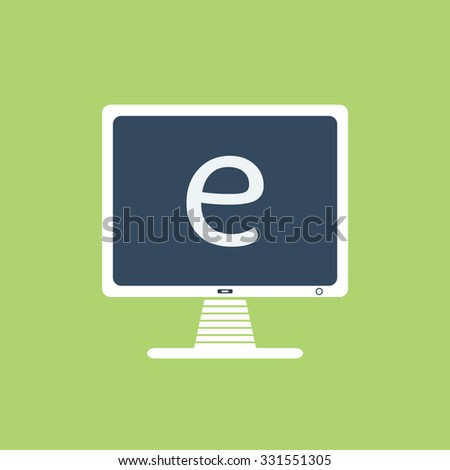 e-learning icon. Computer with the word e-learning. - stock vector