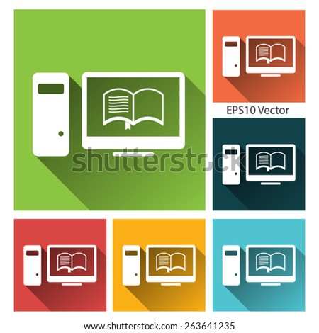 E-Learning icon set - long shadow flat icon set for app and web site. EPS10 vector - stock vector