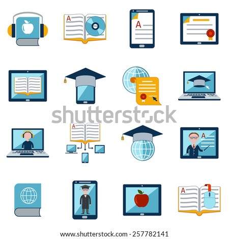 E-learning internet education web tutorial digital school icons set isolated vector illustration - stock vector