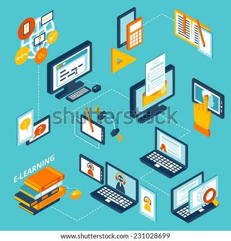 E-learning isometric icons set with computer notebook and books isolated vector illustration - stock vector