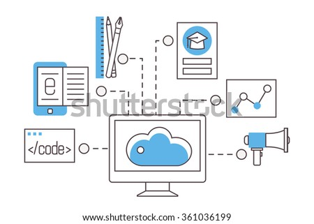 E-learning. Online education, trainings, courses and webinars. Thin line flat vector icons. - stock vector