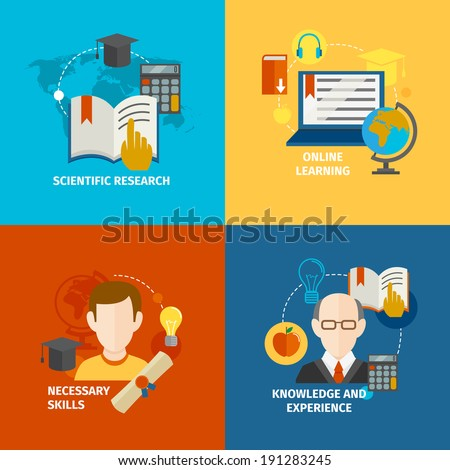 E-learning scientific research knowledge and experience flat icons set isolated vector illustration - stock vector