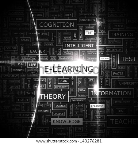 E-LEARNING. Word cloud concept illustration.