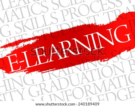 E-LEARNING. Word education collage on gray vector background - stock vector