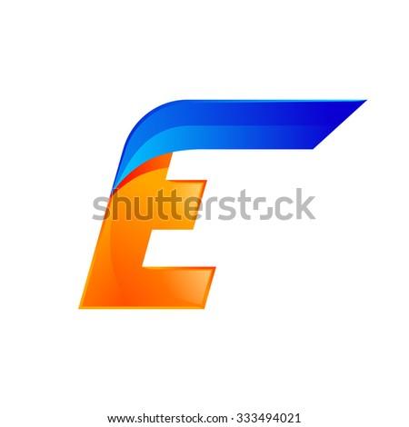E letter blue and Orange logo design Fast speed design template elements for application. - stock vector