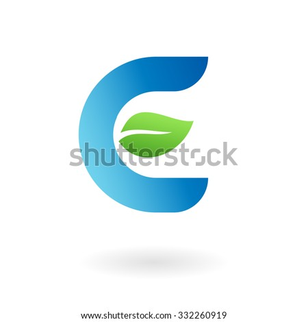 E letter business logo design template. Abstract vector elements for corporate identity emblem, label or icon of eco friendly company - stock vector