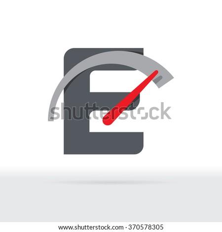 E Letter Car Speedometer, E Letter Meter Logo - stock vector