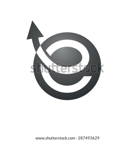 E letter curvy design - stock vector