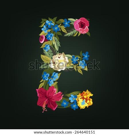 E letter. Flower capital alphabet. Colorful font. Uppercase.  Vector illustration. - stock vector