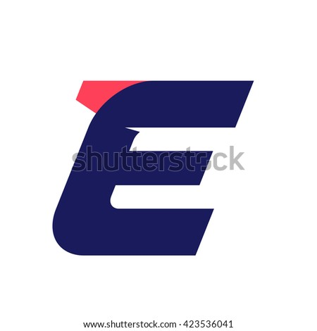 E letter run logo design template. Vector sport style typeface for sportswear, sports club, app icon, corporate identity, labels or posters. - stock vector
