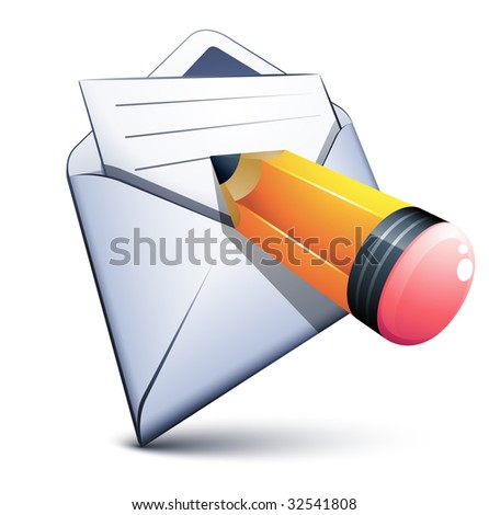 E-mail and a small pen - stock vector