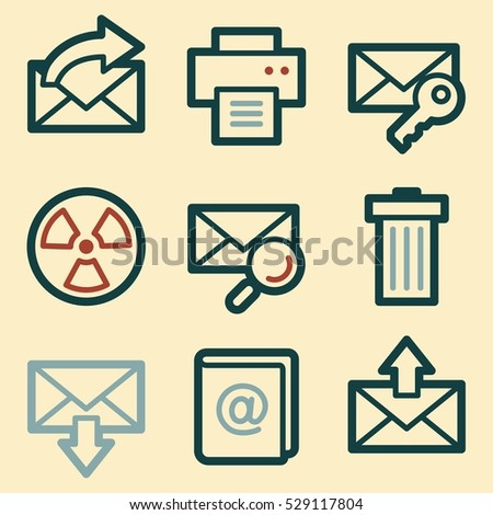 Email Documents Web Icons Set Office Stock Vector 529117804
