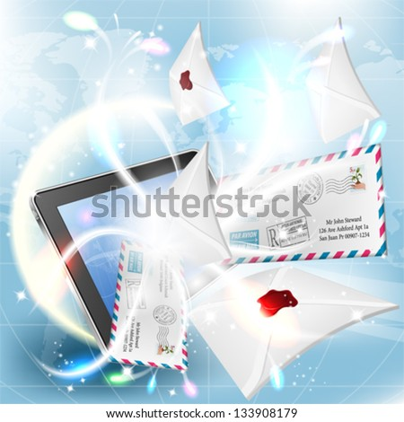 E-Mail concept - Mail from Screen Tablet PC on bright background - stock vector
