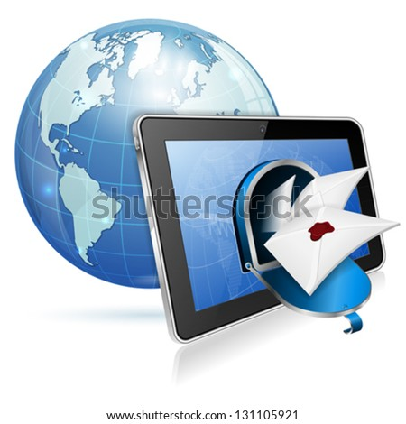E-Mail concept - Open Mailbox with Mail on Screen Tablet PC and Earth, vector icon isolated on white background - stock vector