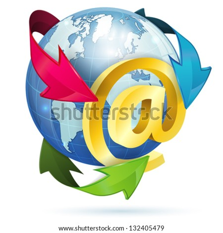 E-Mail Concept with At Sign, Earth and Arrows, vector icon isolated on white background - stock vector
