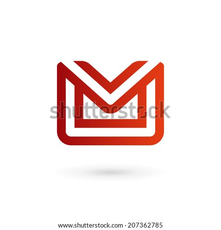 E-mail envelope letter M logo icon design template. Colorful sign. - stock vector