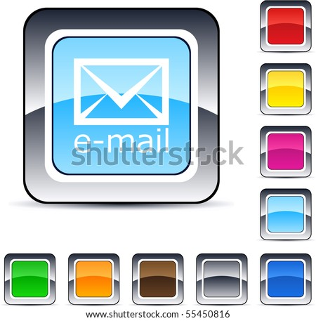 E-mail glossy square web buttons. - stock vector
