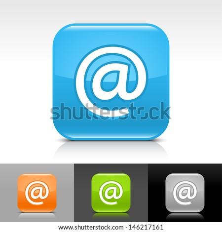 E-mail icon. Blue, orange, green, gray color glossy web button with white sign. Rounded square shape with shadow, reflection on white, gray, black background. Vector illustration element 8 eps  - stock vector