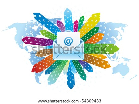 e-mail icon, global communication - stock vector