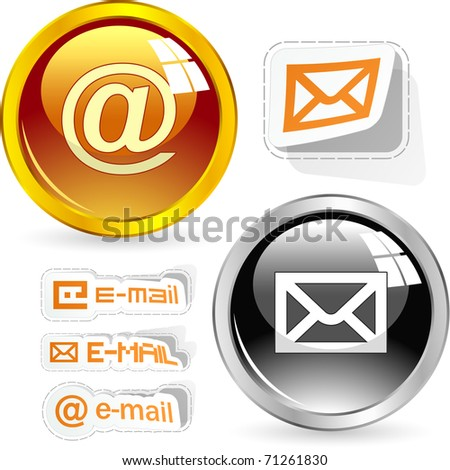 E-mail icon set for web. - stock vector