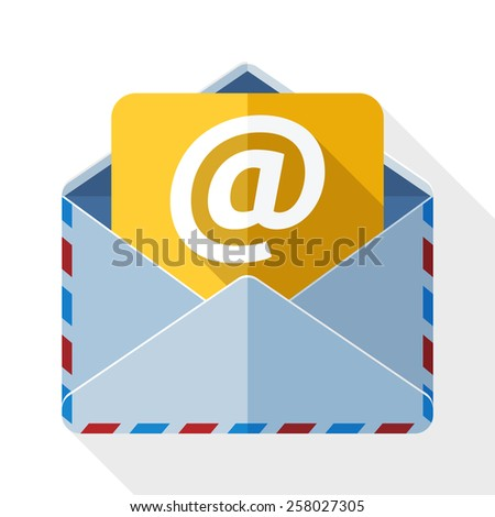 E-mail icon with long shadow on white background - stock vector