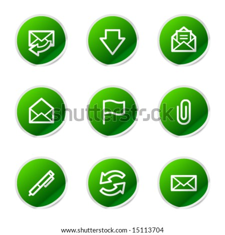 E-mail icons, green stickers series