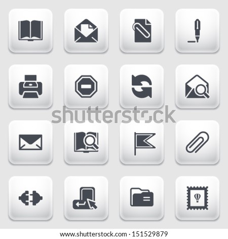 E-mail icons on gray background. - stock vector