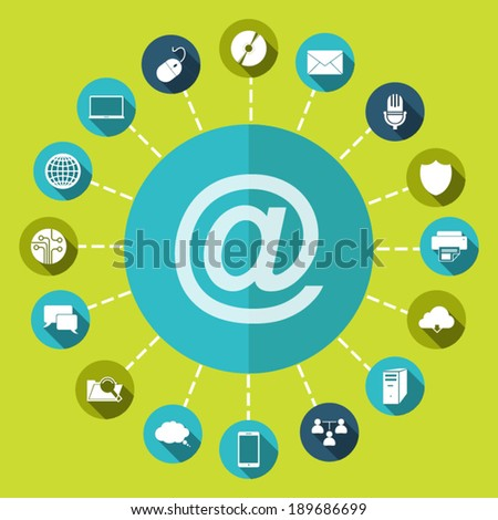 e-mail internet icon, vector illustration. Flat design style - stock vector