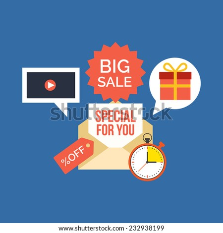 E-mail marketing concept. Flat design stylish. Isolated on color background - stock vector