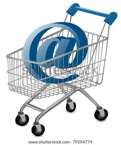 E-mail sign in a shopping cart. Internet shopping concept. Vector. - stock vector