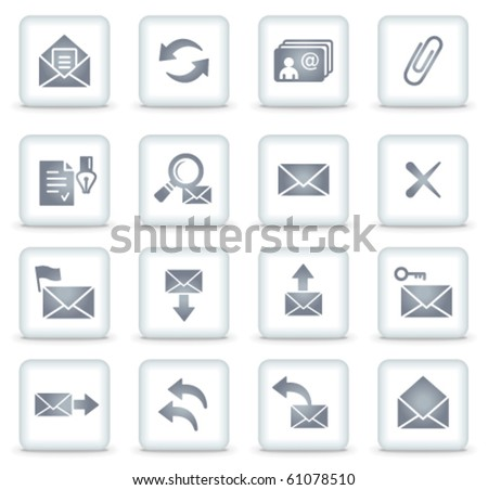 E-mail vector web icons, white square buttons - stock vector