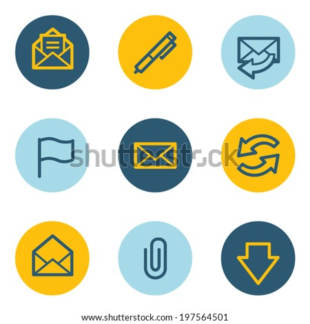 E-mail web icons, blue and yellow circle buttons - stock vector
