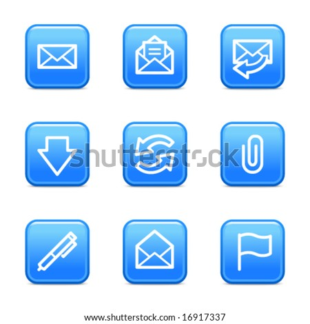 E-mail web icons, blue glossy buttons series - stock vector