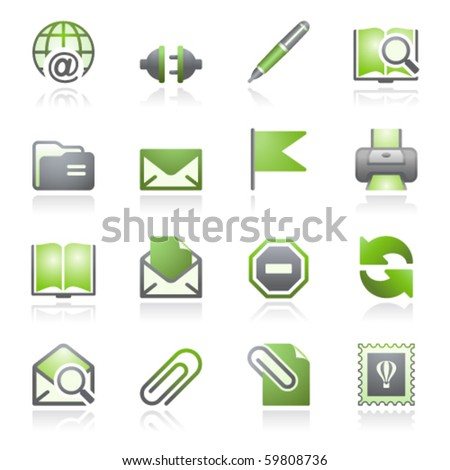 E-mail web icons. Gray and green series. - stock vector
