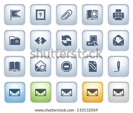 E-mail web icons on buttons. Color series. - stock vector