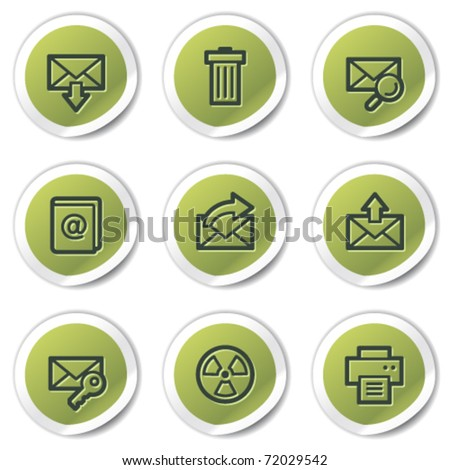 E-mail web icons set 2, green circle stickers - stock vector