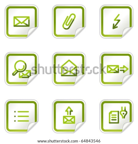 E-mail web icons set 2, green stickers series - stock vector
