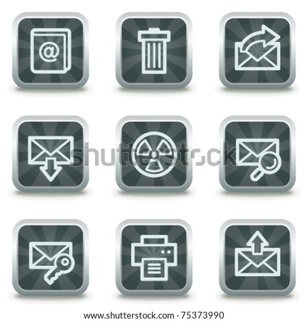E-mail web icons set 2, grey square buttons - stock vector