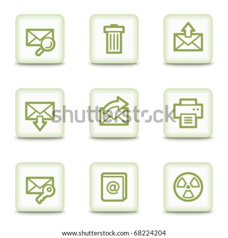 E-mail web icons set 2, white glossy buttons - stock vector