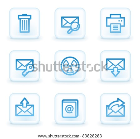 E-mail web icons set 2, white square buttons - stock vector