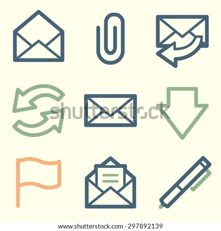 E-mail web icons, square buttons - stock vector