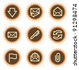 E-mail web icons, vintage buttons - stock vector
