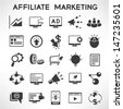 e marketing and affiliate marketing icons set - stock vector