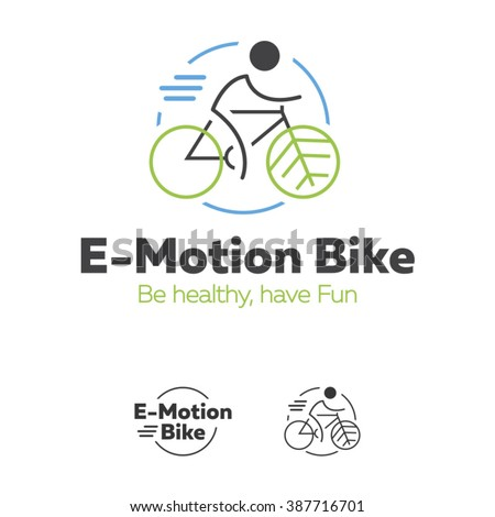 E-motion Bike logotype, for eco bikes with green leafs