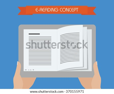 E-reading conceptual illustration. Hand holding tablet with book on screen.