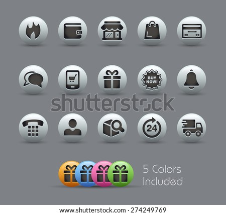 E-Shop Icons. Pearly Series. It includes 5 color versions for each icon in different layers. - stock vector