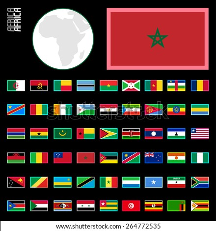 E-shop miniature flags. Africa. Neon glow border style for dark backgrounds - stock vector