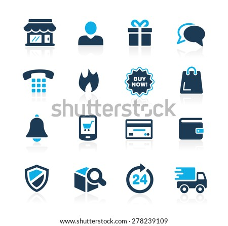 E-Shopping Icons // Azure Series - stock vector