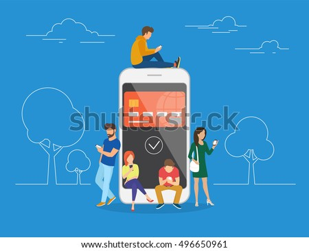 E-wallet concept illustration of young people using mobile smartphone for online purchasing via ewallet. Flat young men and women are standing near big smartphone with the credit card on screen