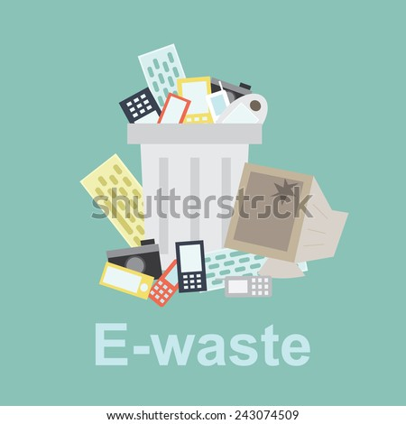 e-waste  recycle bin filled with old computer equipment and old phone - stock vector